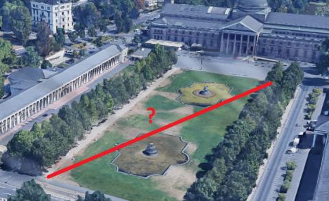 Diagonale der Grünfläche